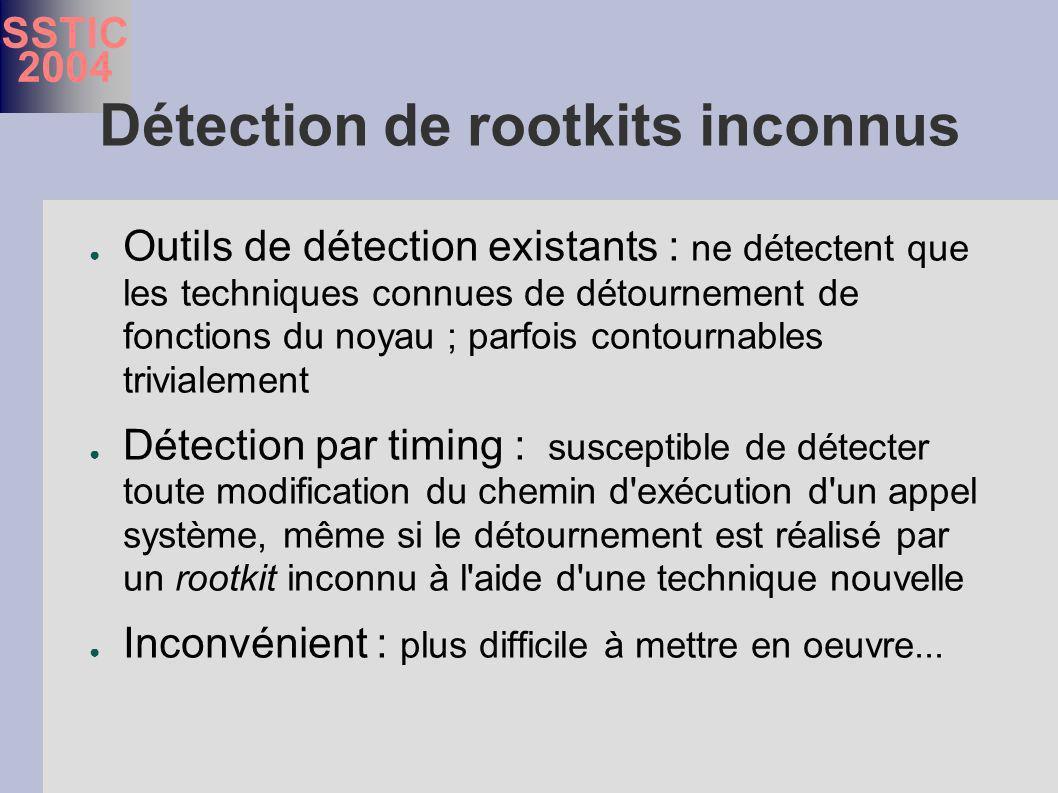 SSTIC 2004 Détection de rootkits inconnus Outils de détection existants : ne détectent que les techniques connues de détournement de fonctions du noyau ; parfois contournables trivialement Détection par timing : susceptible de détecter toute modification du chemin d exécution d un appel système, même si le détournement est réalisé par un rootkit inconnu à l aide d une technique nouvelle Inconvénient : plus difficile à mettre en oeuvre...