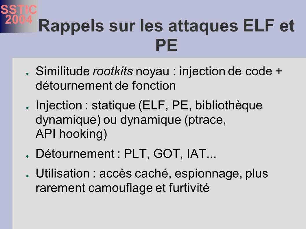 SSTIC 2004 Rappels sur les attaques ELF et PE Similitude rootkits noyau : injection de code + détournement de fonction Injection : statique (ELF, PE, bibliothèque dynamique) ou dynamique (ptrace, API hooking) Détournement : PLT, GOT, IAT...