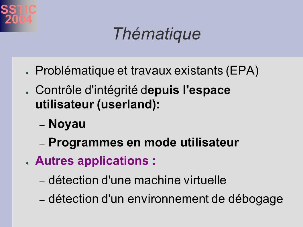 SSTIC 2004 Thématique Problématique et travaux existants (EPA) Contrôle d intégrité depuis l espace utilisateur (userland): – Noyau – Programmes en mode utilisateur Autres applications : – détection d une machine virtuelle – détection d un environnement de débogage