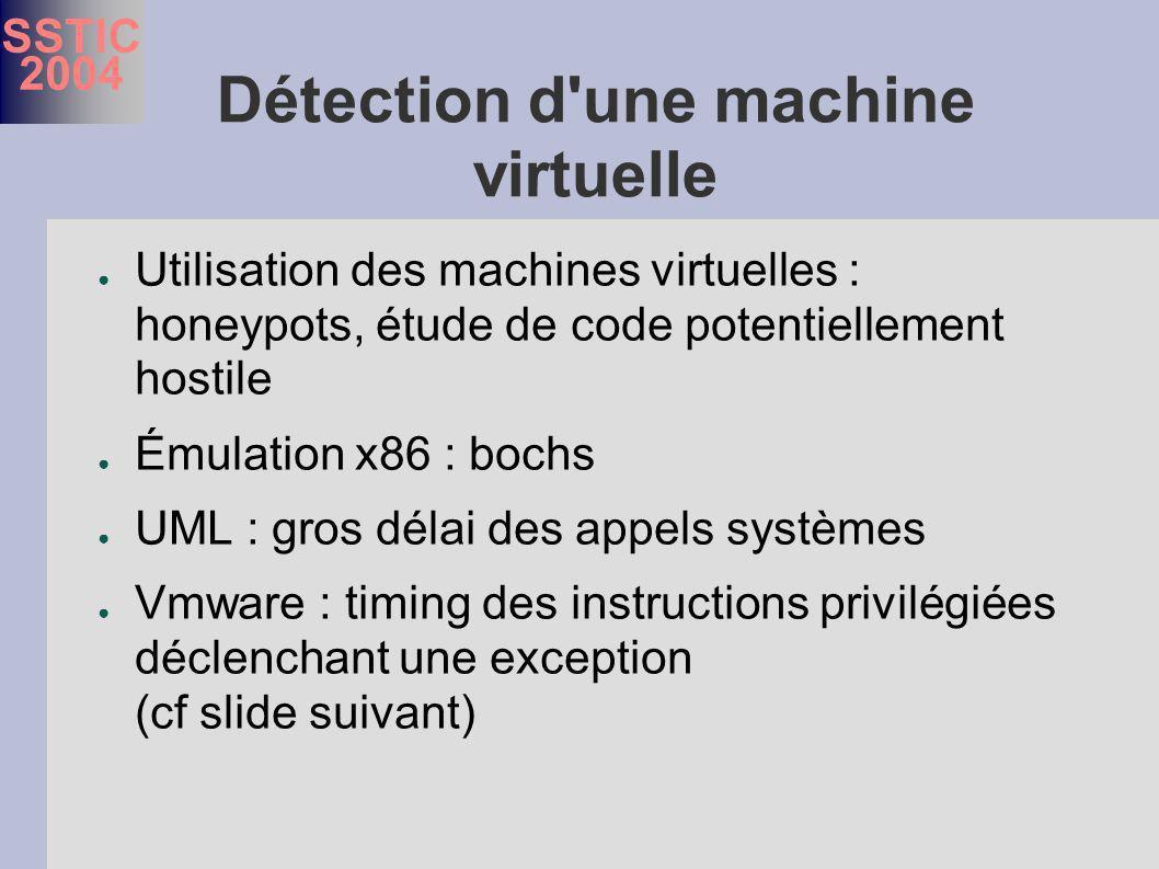 SSTIC 2004 Détection d une machine virtuelle Utilisation des machines virtuelles : honeypots, étude de code potentiellement hostile Émulation x86 : bochs UML : gros délai des appels systèmes Vmware : timing des instructions privilégiées déclenchant une exception (cf slide suivant)