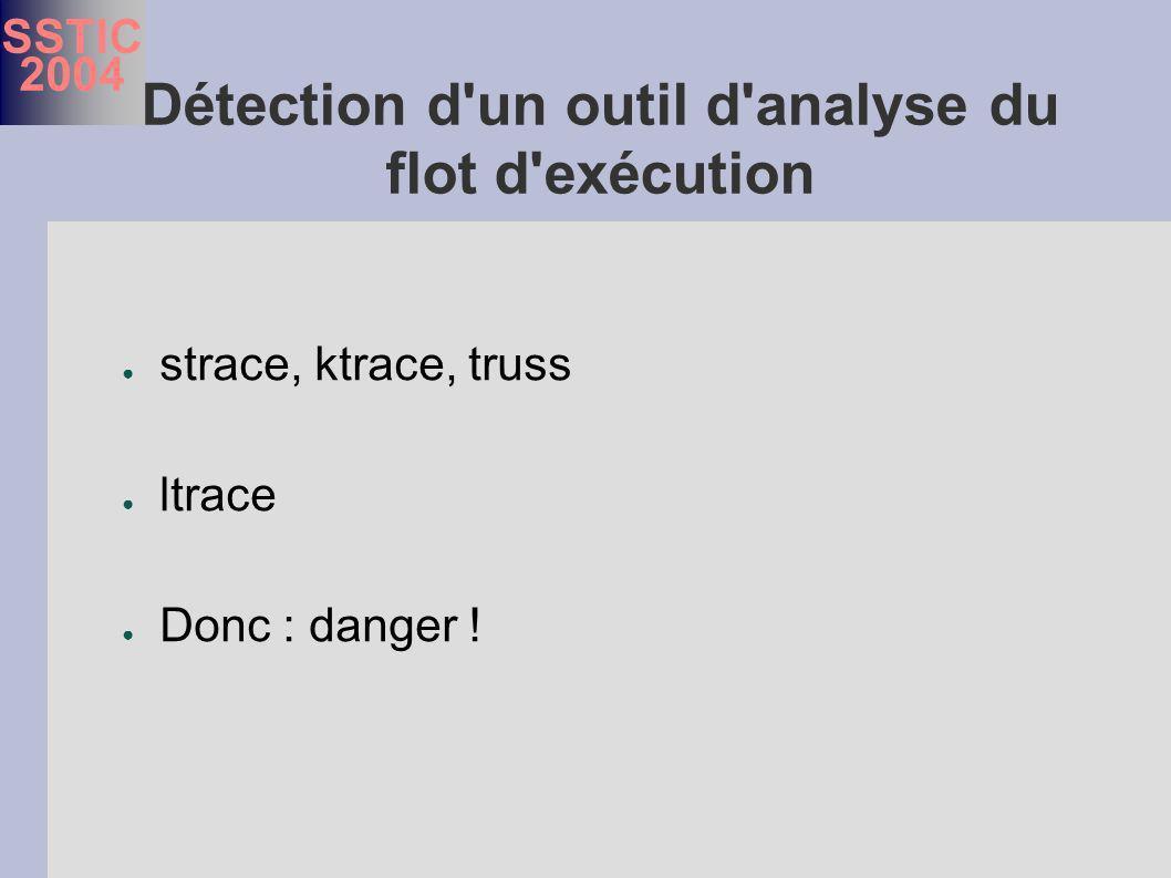 SSTIC 2004 Détection d un outil d analyse du flot d exécution strace, ktrace, truss ltrace Donc : danger !