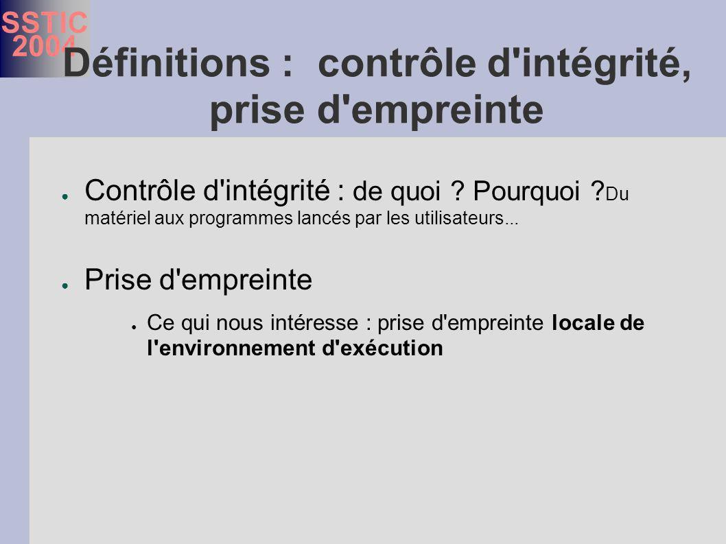 SSTIC 2004 Définitions : contrôle d intégrité, prise d empreinte Contrôle d intégrité : de quoi .