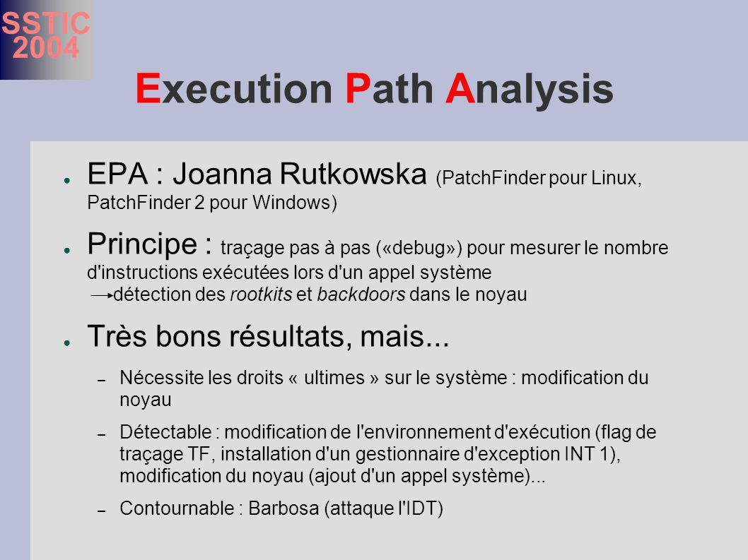 SSTIC 2004 Execution Path Analysis EPA : Joanna Rutkowska (PatchFinder pour Linux, PatchFinder 2 pour Windows) Principe : traçage pas à pas («debug») pour mesurer le nombre d instructions exécutées lors d un appel système détection des rootkits et backdoors dans le noyau Très bons résultats, mais...