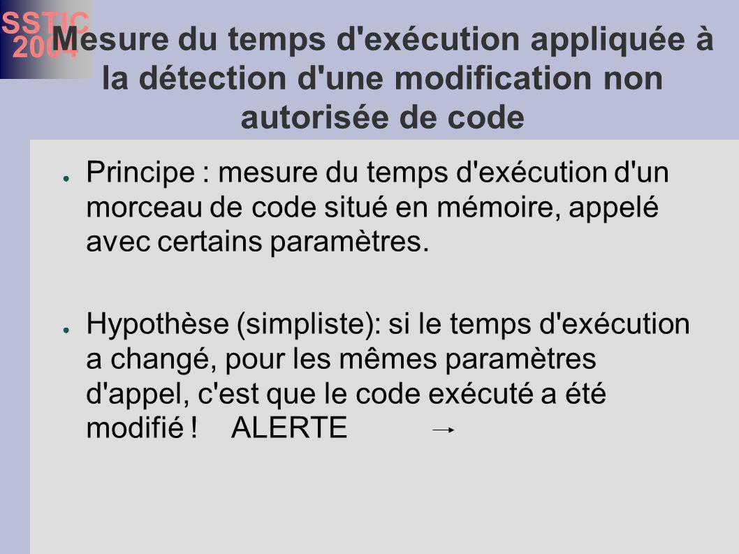 SSTIC 2004 Mesure du temps d exécution appliquée à la détection d une modification non autorisée de code Principe : mesure du temps d exécution d un morceau de code situé en mémoire, appelé avec certains paramètres.