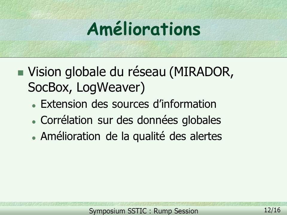 Symposium SSTIC : Rump Session 12/16 Améliorations n Vision globale du réseau (MIRADOR, SocBox, LogWeaver) l Extension des sources dinformation l Corr