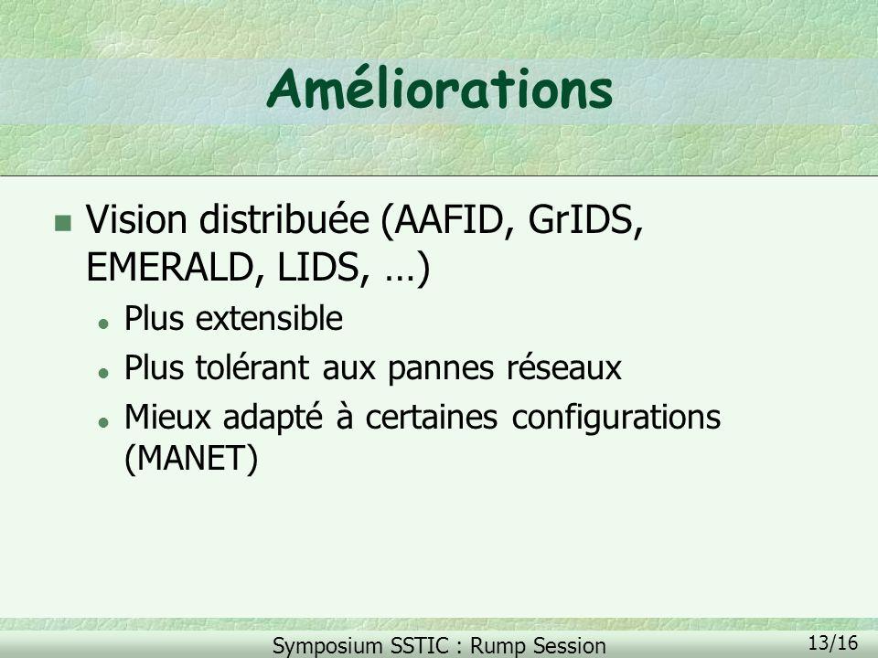 Symposium SSTIC : Rump Session 13/16 Améliorations n Vision distribuée (AAFID, GrIDS, EMERALD, LIDS, …) l Plus extensible l Plus tolérant aux pannes r
