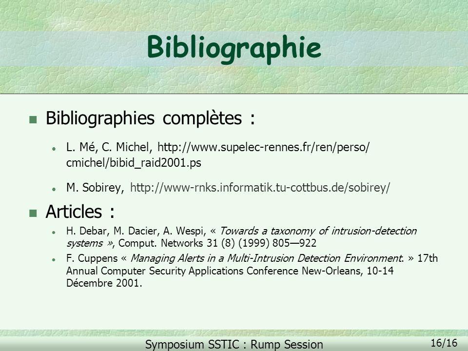 Symposium SSTIC : Rump Session 16/16 Bibliographie n Bibliographies complètes : l L. Mé, C. Michel, http://www.supelec-rennes.fr/ren/perso/ cmichel/bi