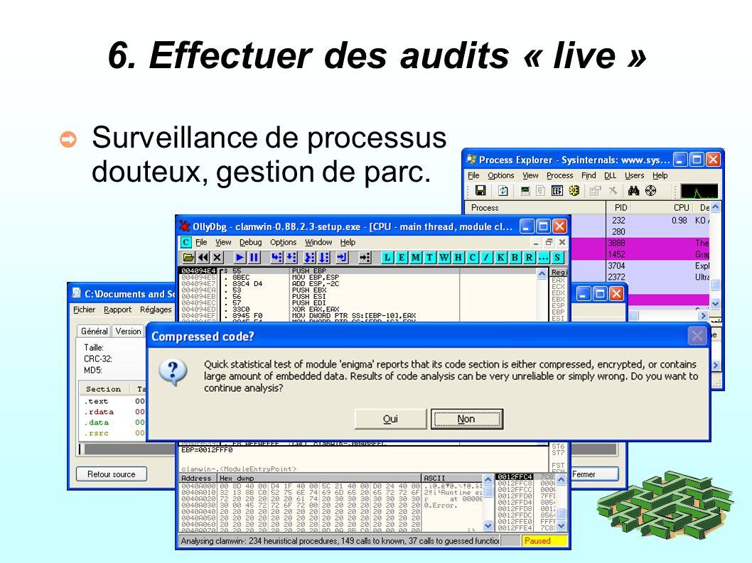 6. Effectuer des audits « live » Surveillance de processus douteux, gestion de parc.