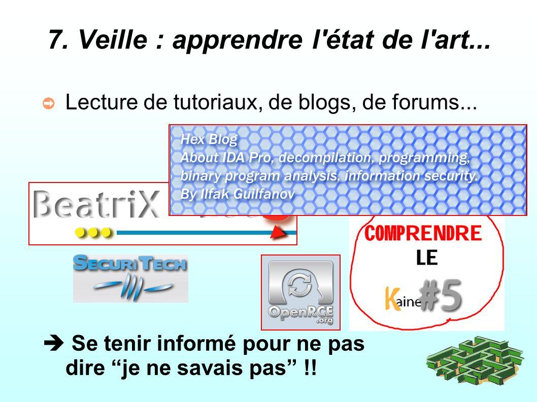 7.Veille : apprendre l état de l art... Lecture de tutoriaux, de blogs, de forums...