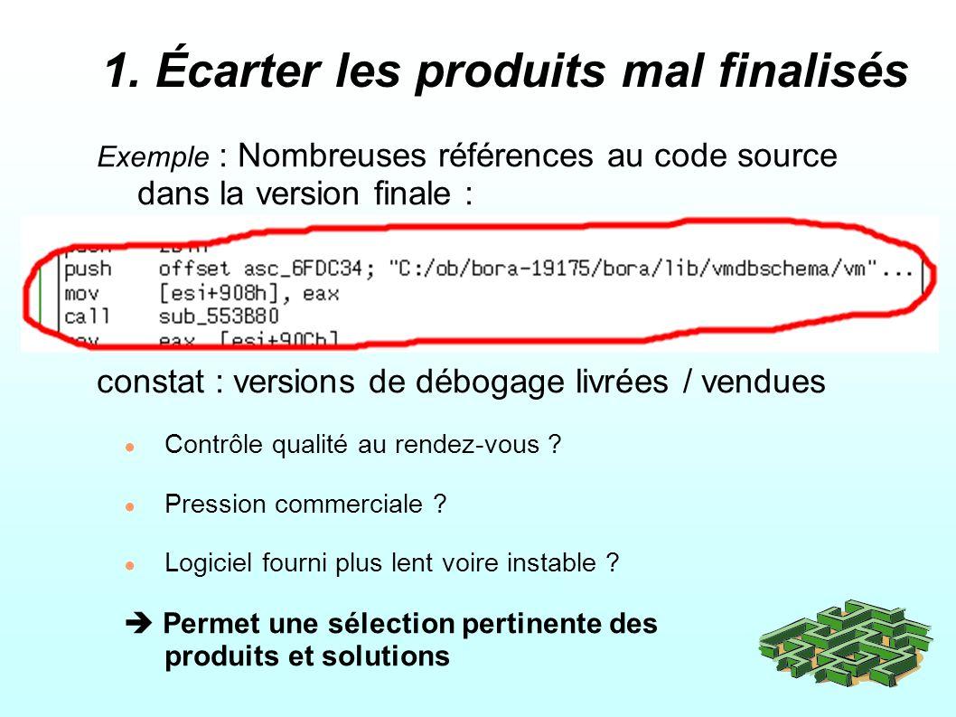 1. Écarter les produits mal finalisés Exemple : Nombreuses références au code source dans la version finale : constat : versions de débogage livrées /