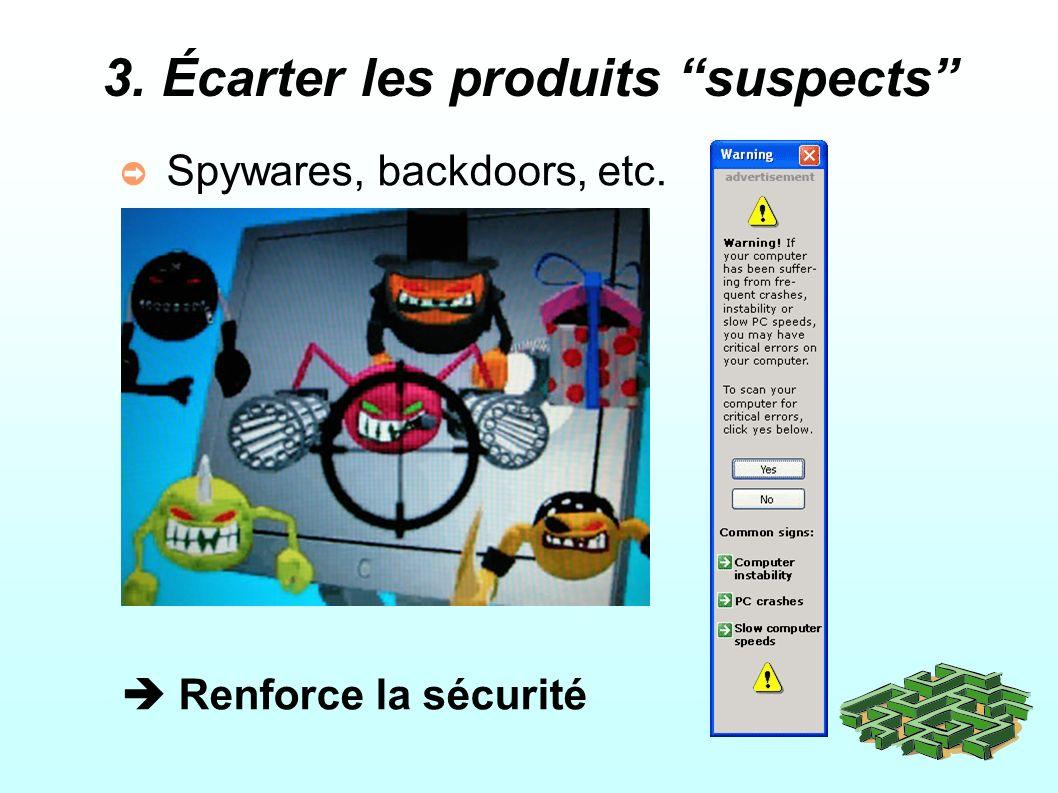 3. Écarter les produits suspects Spywares, backdoors, etc. Renforce la sécurité