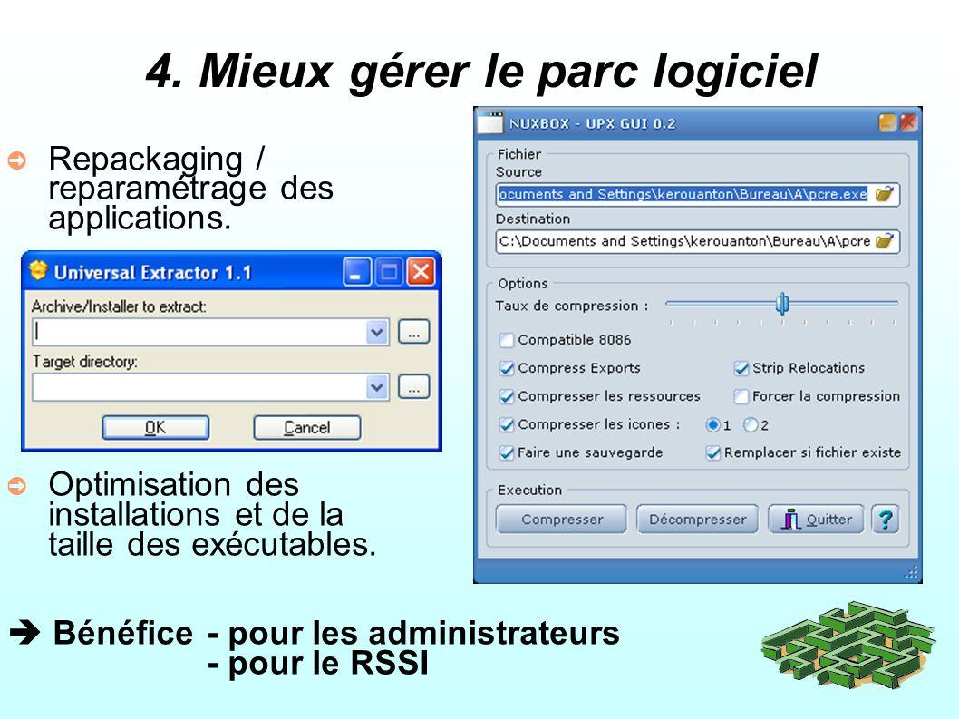 4.Mieux gérer le parc logiciel Repackaging / reparamétrage des applications.