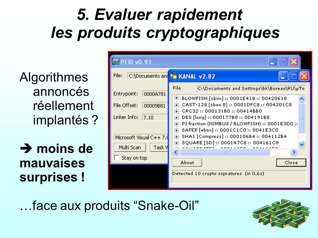 5.Evaluer rapidement les produits cryptographiques Algorithmes annoncés réellement implantés .