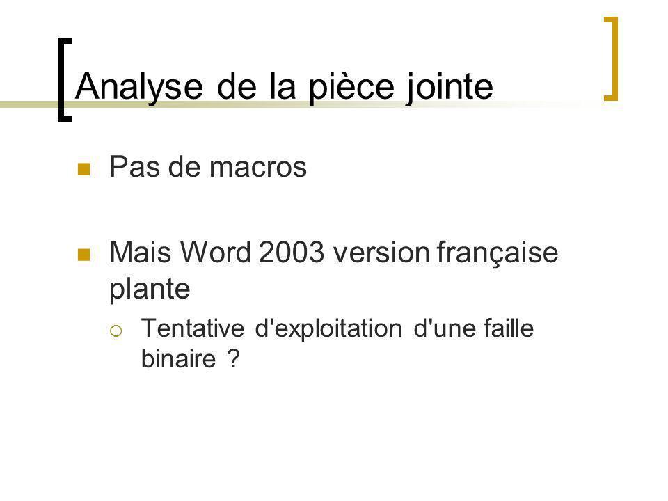 Analyse de la pièce jointe Pas de macros Mais Word 2003 version française plante Tentative d'exploitation d'une faille binaire ?