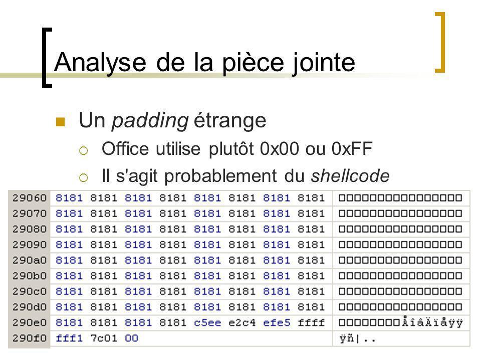 Analyse de la pièce jointe Un padding étrange Office utilise plutôt 0x00 ou 0xFF Il s'agit probablement du shellcode