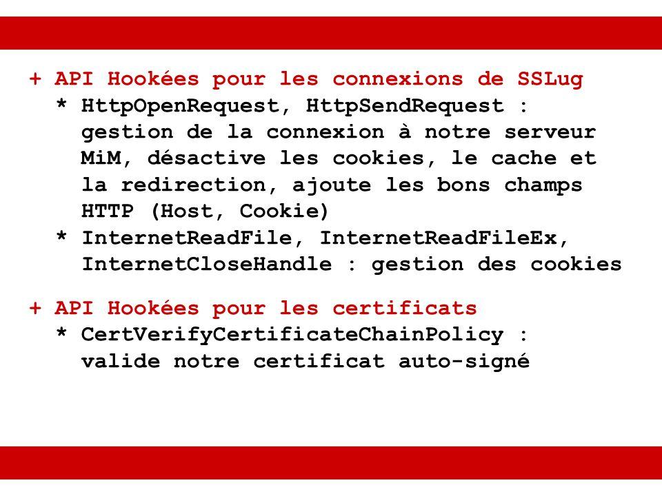 + API Hookées pour les connexions de SSLug * HttpOpenRequest, HttpSendRequest : gestion de la connexion à notre serveur MiM, désactive les cookies, le