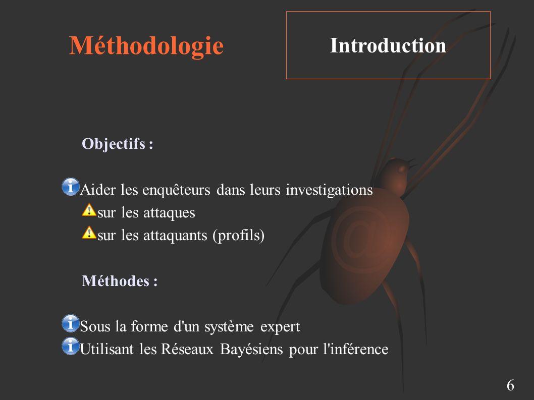 Méthodologie Introduction 6 Objectifs : Aider les enquêteurs dans leurs investigations sur les attaques sur les attaquants (profils) Méthodes : Sous la forme d un système expert Utilisant les Réseaux Bayésiens pour l inférence