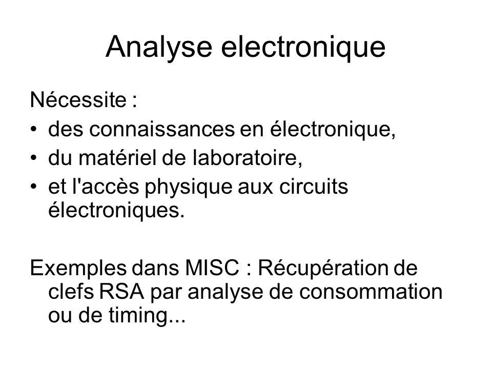 Analyse electronique Nécessite : des connaissances en électronique, du matériel de laboratoire, et l'accès physique aux circuits électroniques. Exempl