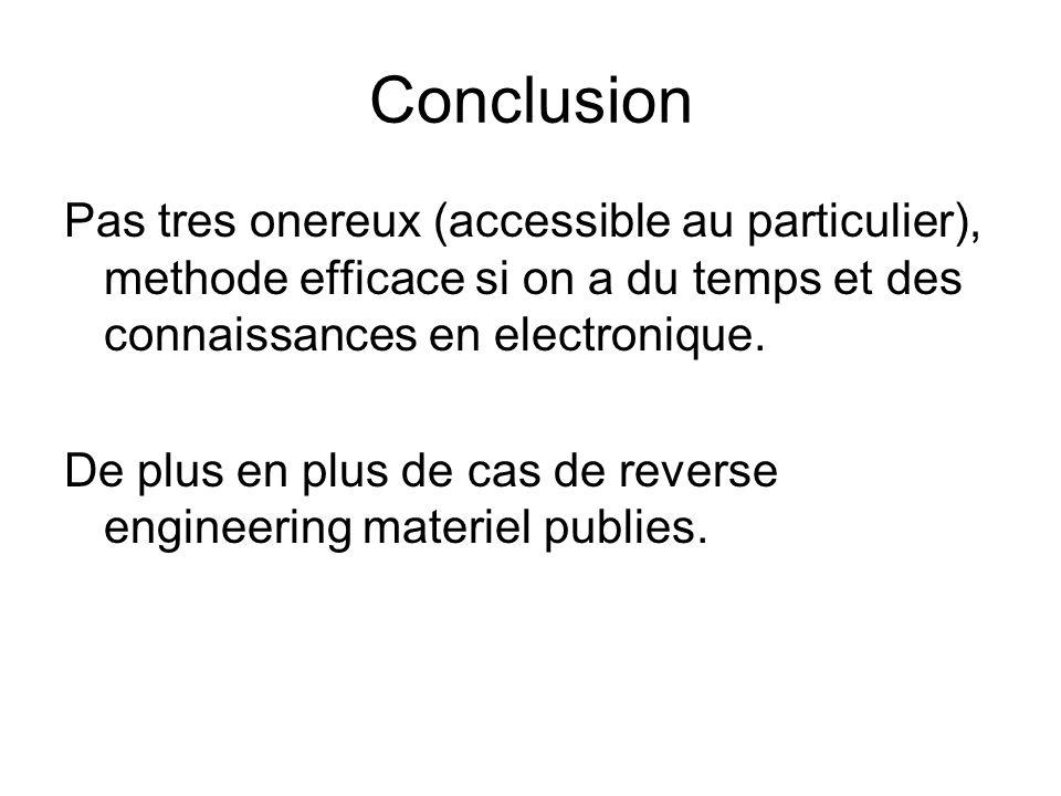 Conclusion Pas tres onereux (accessible au particulier), methode efficace si on a du temps et des connaissances en electronique. De plus en plus de ca