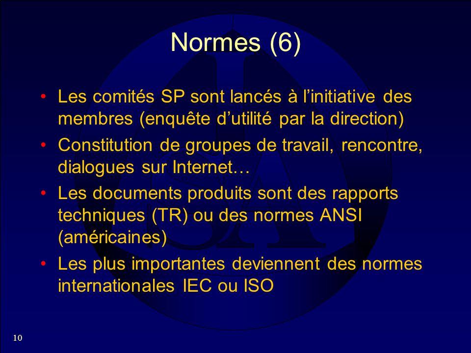 10 Normes (6) Les comités SP sont lancés à linitiative des membres (enquête dutilité par la direction) Constitution de groupes de travail, rencontre, dialogues sur Internet… Les documents produits sont des rapports techniques (TR) ou des normes ANSI (américaines) Les plus importantes deviennent des normes internationales IEC ou ISO