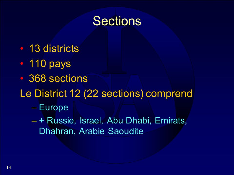 14 Sections 13 districts 110 pays 368 sections Le District 12 (22 sections) comprend –Europe –+ Russie, Israel, Abu Dhabi, Emirats, Dhahran, Arabie Sa