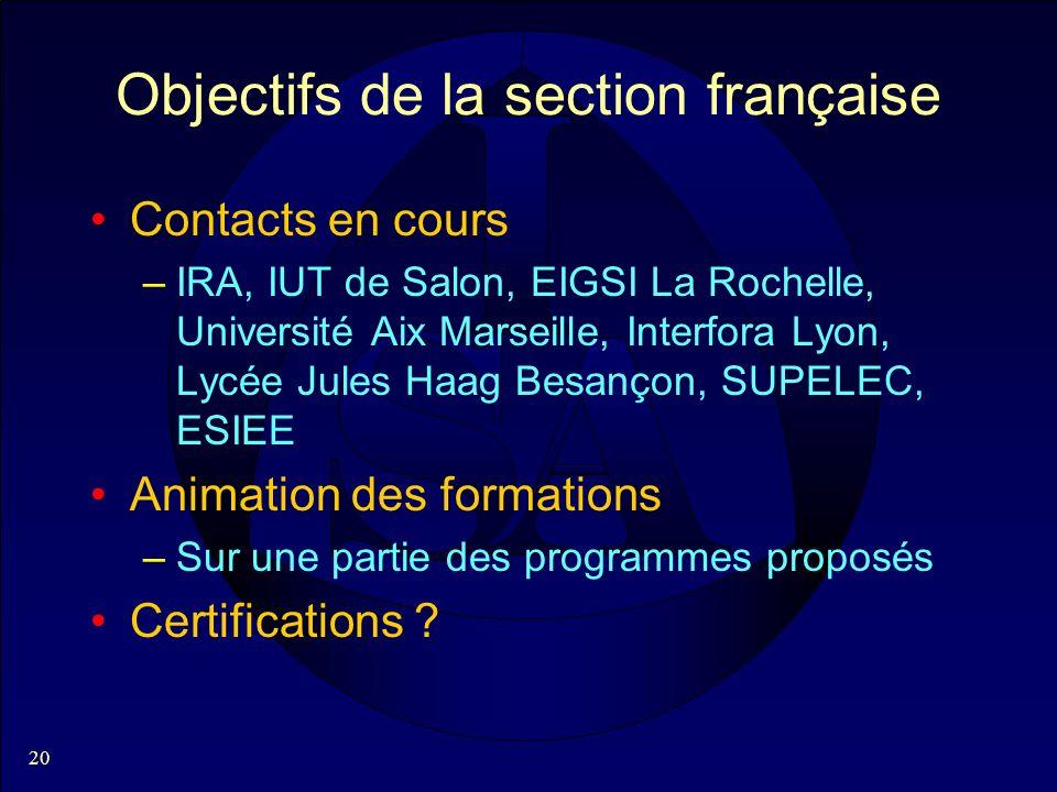 20 Objectifs de la section française Contacts en cours –IRA, IUT de Salon, EIGSI La Rochelle, Université Aix Marseille, Interfora Lyon, Lycée Jules Ha