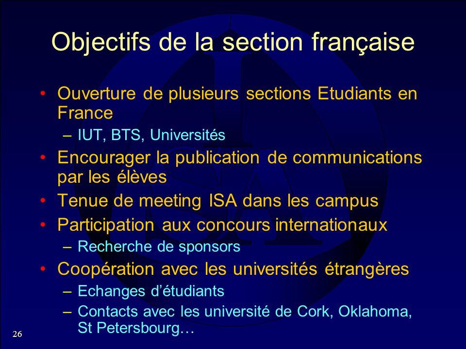 26 Objectifs de la section française Ouverture de plusieurs sections Etudiants en France –IUT, BTS, Universités Encourager la publication de communica