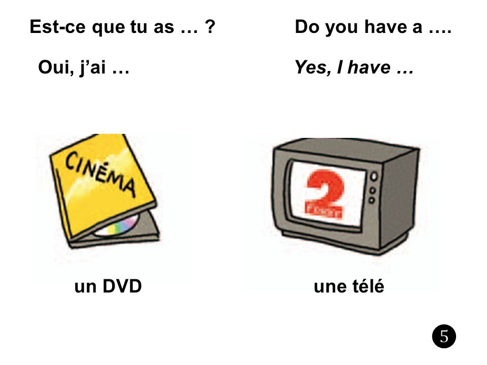 Est-ce que tu as … ? Do you have a …. Oui, jai … Yes, I have … une téléun DVD