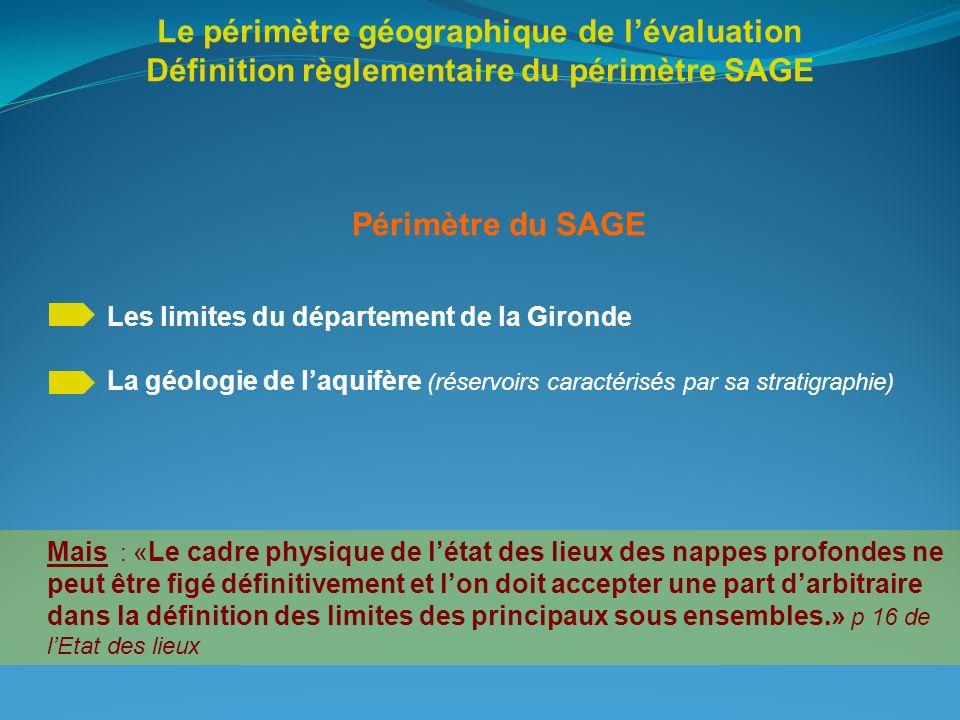 Le périmètre géographique de lévaluation Définition règlementaire du périmètre SAGE Périmètre du SAGE Les limites du département de la Gironde La géol