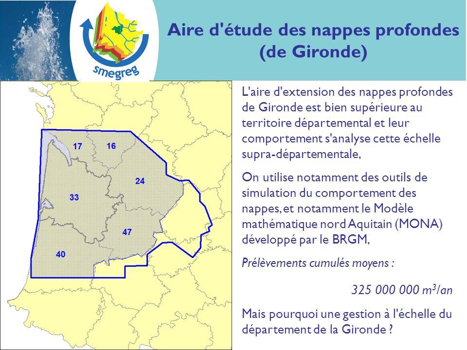 Aire d'étude des nappes profondes (de Gironde) L'aire d'extension des nappes profondes de Gironde est bien supérieure au territoire départemental et l
