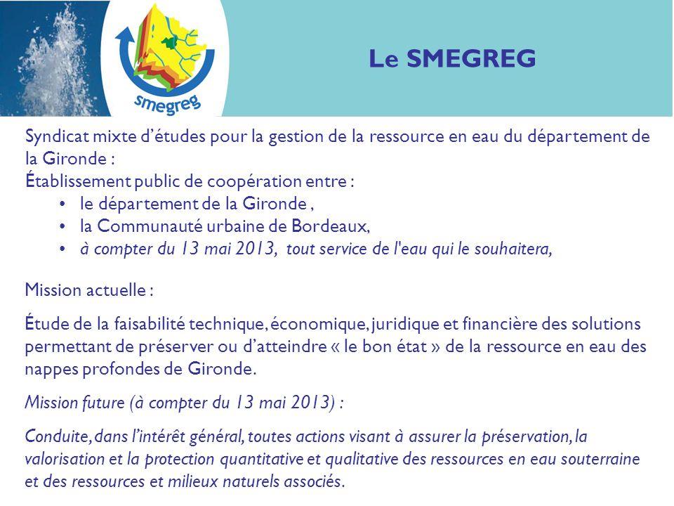 Syndicat mixte détudes pour la gestion de la ressource en eau du département de la Gironde : Établissement public de coopération entre : le départemen