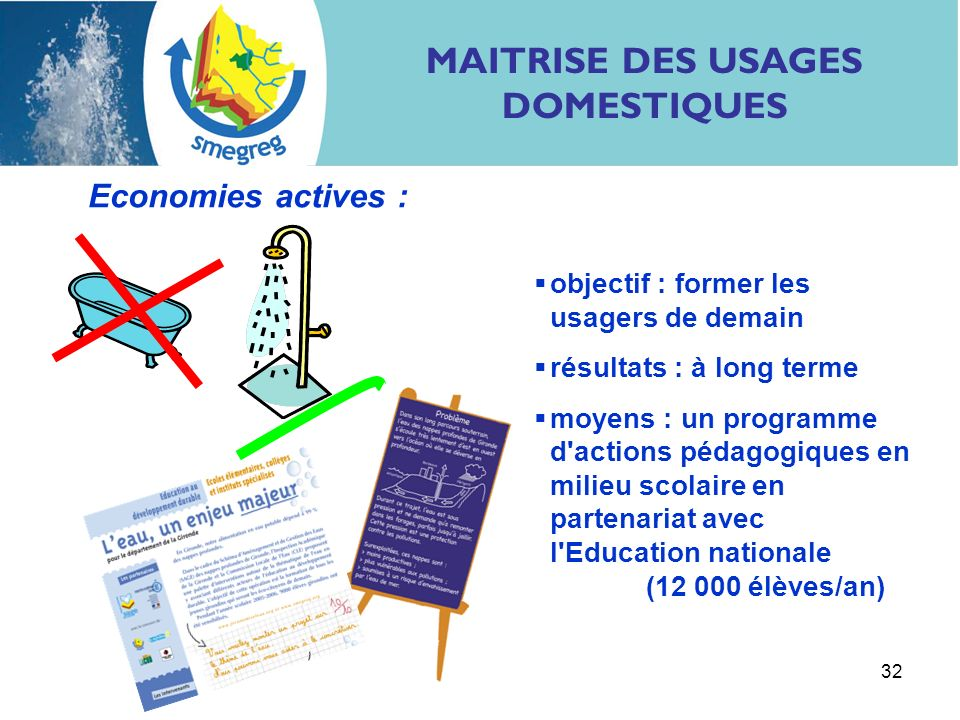 32 Economies actives : objectif : former les usagers de demain résultats : à long terme moyens : un programme d'actions pédagogiques en milieu scolair