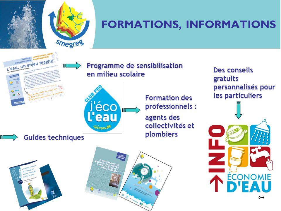 34 FORMATIONS, INFORMATIONS Guides techniques Programme de sensibilisation en milieu scolaire Formation des professionnels : agents des collectivités