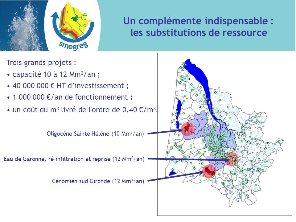 Trois grands projets : capacité 10 à 12 Mm 3 /an ; 40 000 000 HT dinvestissement ; 1 000 000 /an de fonctionnement ; un coût du m 3 livré de l'ordre d