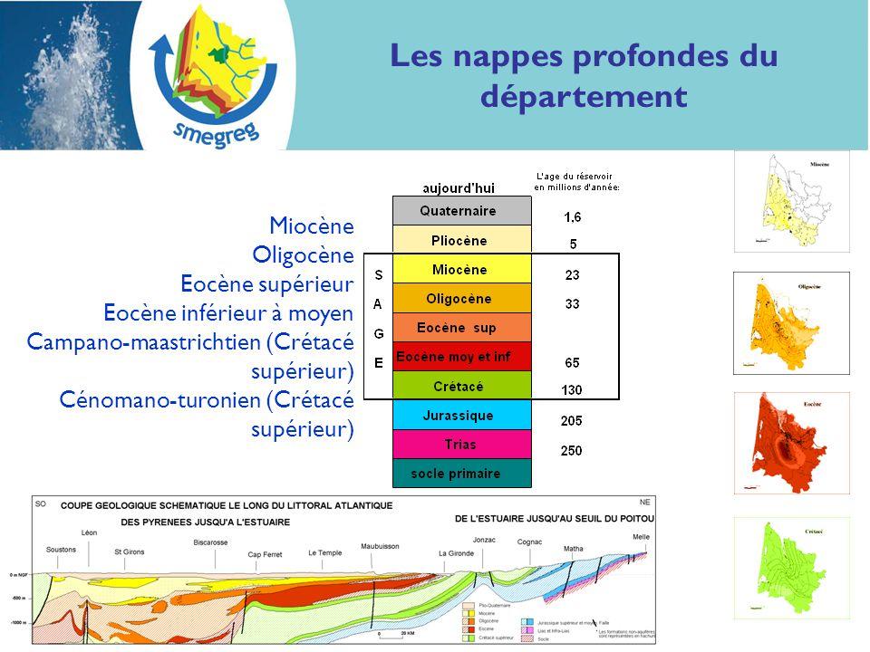 8 Les nappes profondes du département Miocène Oligocène Eocène supérieur Eocène inférieur à moyen Campano-maastrichtien (Crétacé supérieur) Cénomano-t