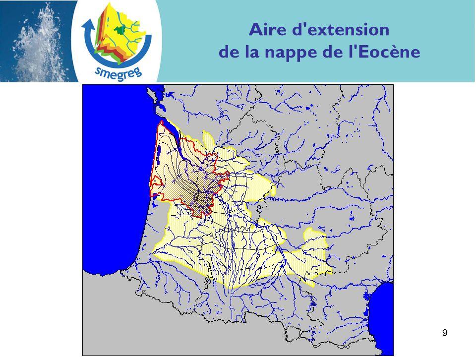 9 Aire d'extension de la nappe de l'Eocène