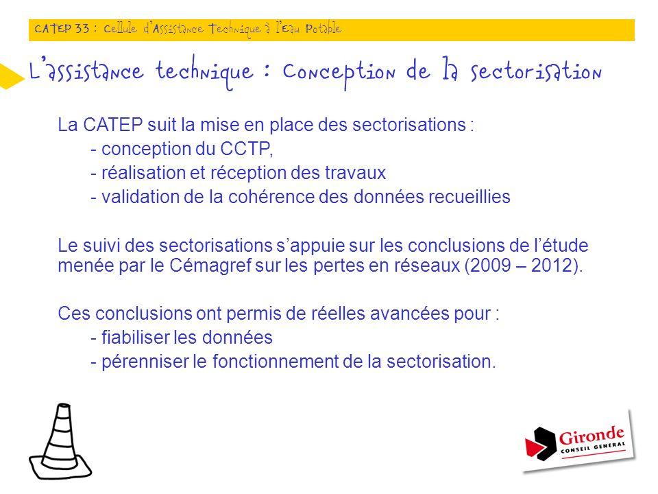 La CATEP suit la mise en place des sectorisations : - conception du CCTP, - réalisation et réception des travaux - validation de la cohérence des données recueillies Le suivi des sectorisations sappuie sur les conclusions de létude menée par le Cémagref sur les pertes en réseaux (2009 – 2012).