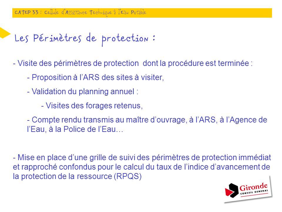 Les Périmètres de protection : - Visite des périmètres de protection dont la procédure est terminée : - Proposition à lARS des sites à visiter, - Vali