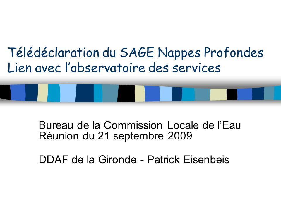 Télédéclaration du SAGE Nappes Profondes Lien avec lobservatoire des services Bureau de la Commission Locale de lEau Réunion du 21 septembre 2009 DDAF de la Gironde - Patrick Eisenbeis