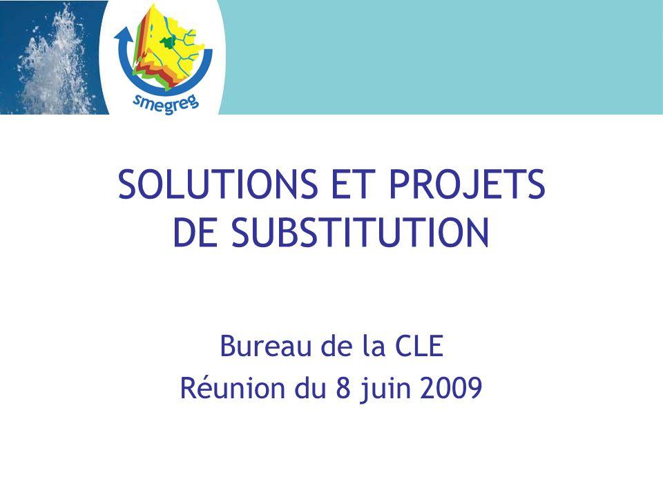 SOLUTIONS ET PROJETS DE SUBSTITUTION Bureau de la CLE Réunion du 8 juin 2009