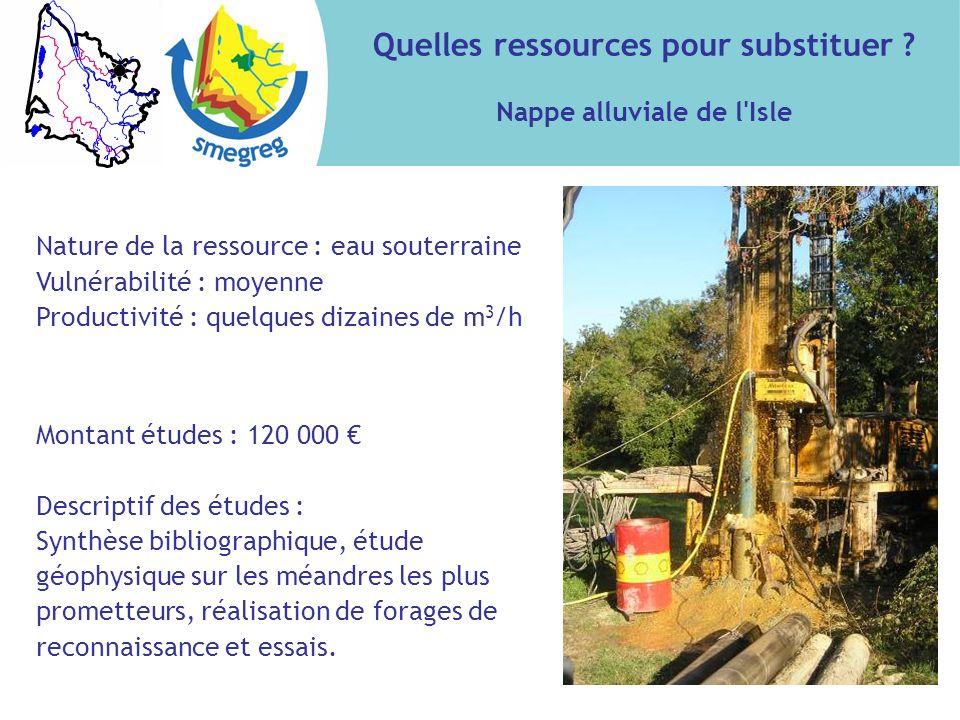 Quelles ressources pour substituer ? Nappe alluviale de l'Isle Nature de la ressource : eau souterraine Vulnérabilité : moyenne Productivité : quelque