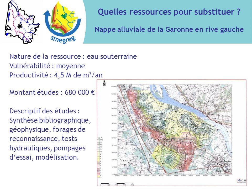 Quelles ressources pour substituer ? Nappe alluviale de la Garonne en rive gauche Nature de la ressource : eau souterraine Vulnérabilité : moyenne Pro