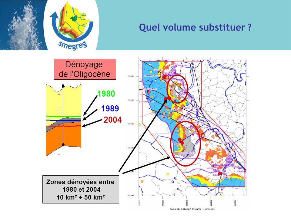 1980 1989 2004 Zones dénoyées entre 1980 et 2004 10 km² + 50 km² Dénoyage de l'Oligocène