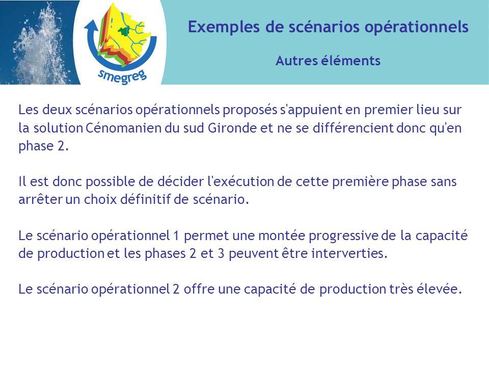 Les deux scénarios opérationnels proposés s appuient en premier lieu sur la solution Cénomanien du sud Gironde et ne se différencient donc qu en phase 2.
