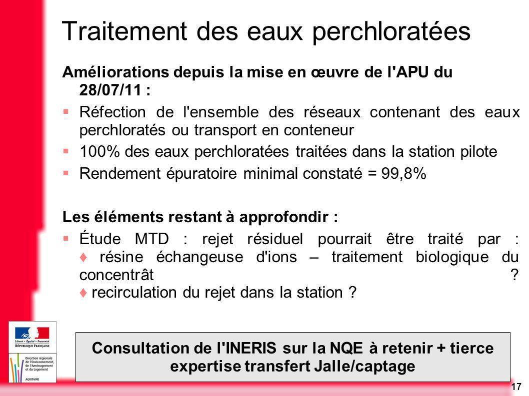 17 Traitement des eaux perchloratées Améliorations depuis la mise en œuvre de l'APU du 28/07/11 : Réfection de l'ensemble des réseaux contenant des ea