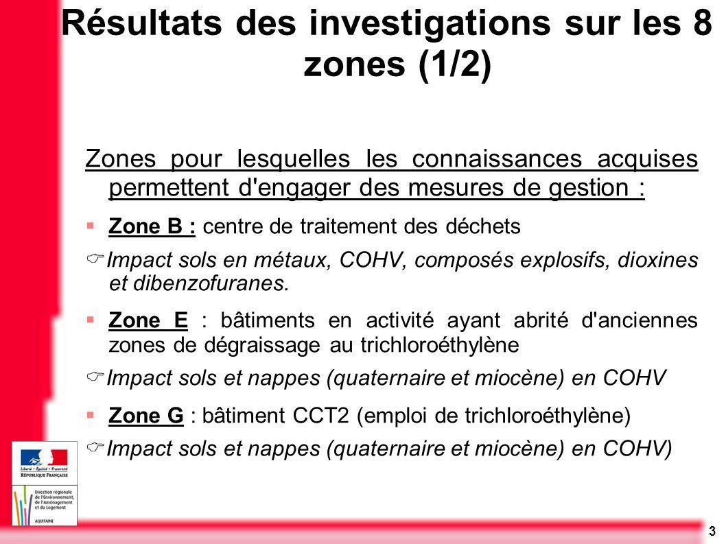 3 Zones pour lesquelles les connaissances acquises permettent d'engager des mesures de gestion : Zone B : centre de traitement des déchets Impact sols