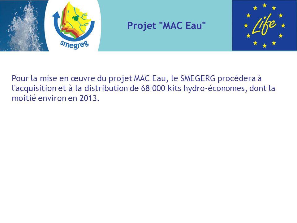 Pour la mise en œuvre du projet MAC Eau, le SMEGERG procédera à l acquisition et à la distribution de 68 000 kits hydro-économes, dont la moitié environ en 2013.