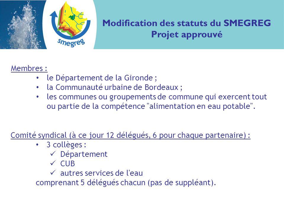 Membres : le Département de la Gironde ; la Communauté urbaine de Bordeaux ; les communes ou groupements de commune qui exercent tout ou partie de la compétence alimentation en eau potable .