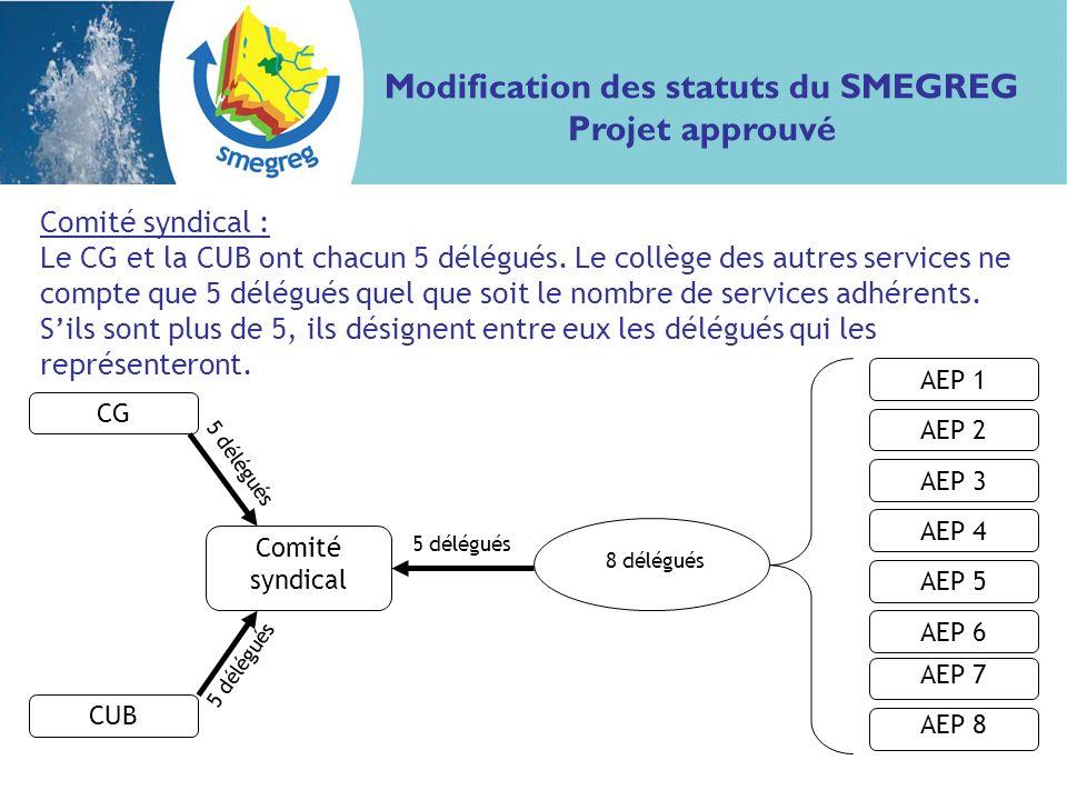 Comité syndical : Le CG et la CUB ont chacun 5 délégués.