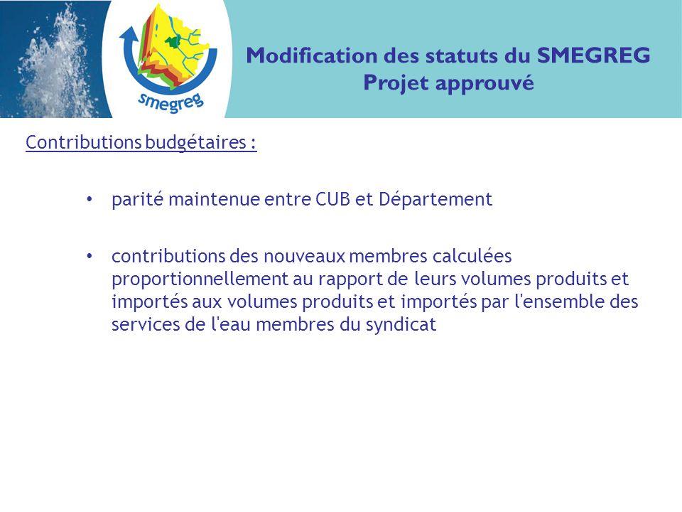 Contributions budgétaires : parité maintenue entre CUB et Département contributions des nouveaux membres calculées proportionnellement au rapport de leurs volumes produits et importés aux volumes produits et importés par l ensemble des services de l eau membres du syndicat Modification des statuts du SMEGREG Projet approuvé